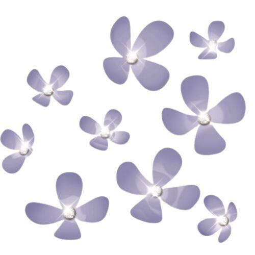 Walplus 3D Wandaufkleber Blume PVC flieder 18 teilig