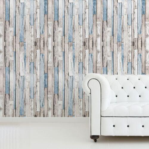 Walplus wandaufkleber Holzleisten 180 x 120 cm PVC grau/blau 4 teilig