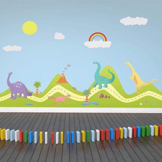 Walplus wandaufkleber hügel mit dinosauriern 80 x 180 cm pvc