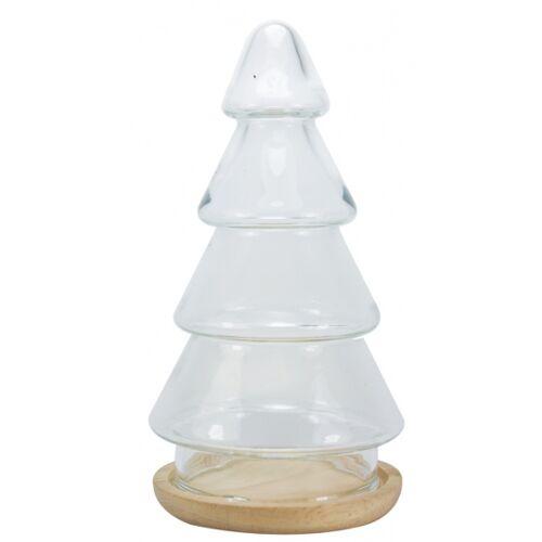 Tak Design tischdekoration Weihnachtsbaum 10,2 x 19,5 cm Glas/Holz