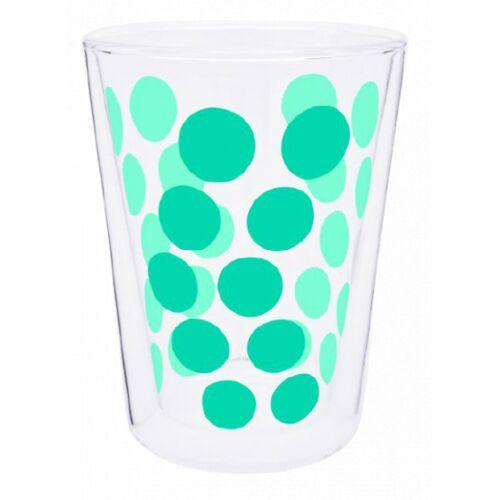 Zak!Designs teeglas Dot Dot doppelwandiges 350 ml Glas Aqua