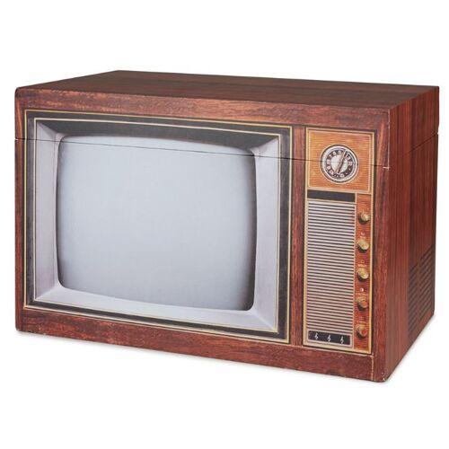 Balvi aufbewahrungsbox TV 34 x 50 x 30 cm Holz/Metall braun/grau
