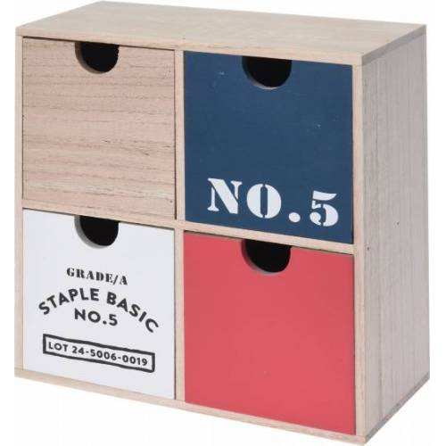 Home & Styling kommode 22 x 10 cm Holz natur/rot/blau
