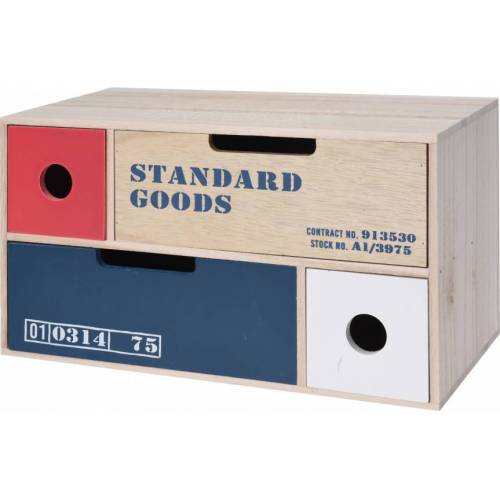 Home & Styling kommode 30 x 15 cm Holz natur/rot/blau