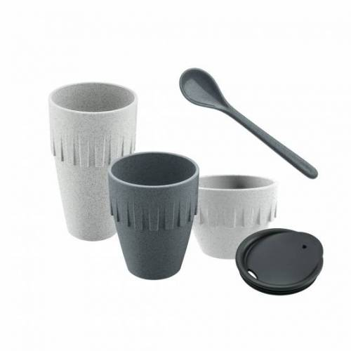 Koziol kaffeebecher My Coffee Connect 15,5 cm grau