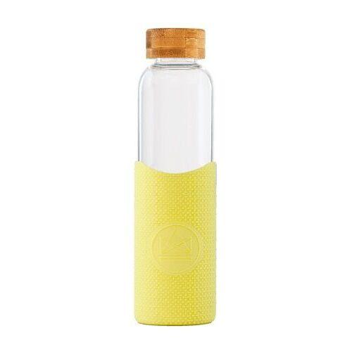 Neon Kactus wasserflasche 550 ml Glas/Silikon gelb