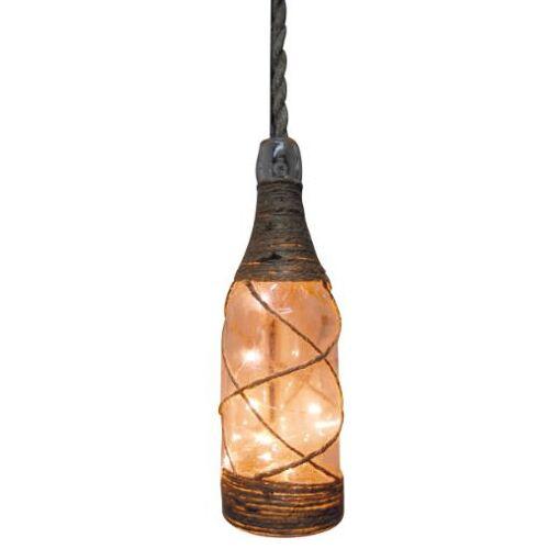 Peha dekorationsleuchte Hängelampe Flasche 31 cm Sisal/Glas braun