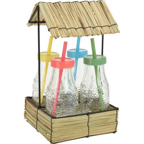 Pro Garden trinkflaschen mit Strohhalm 500 ml Glas 5 teilig