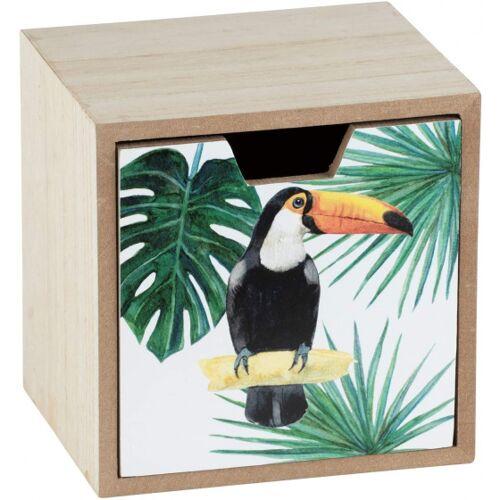 Wenko aufbewahrungsbox mit Schublade Tucan 12 x 12 cm Holz grün