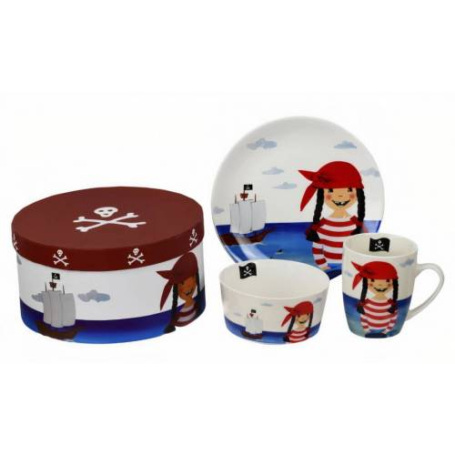 Ziegfeld Piraat Paulafrühstücksset Junior Porzellan weiß/rot/blau