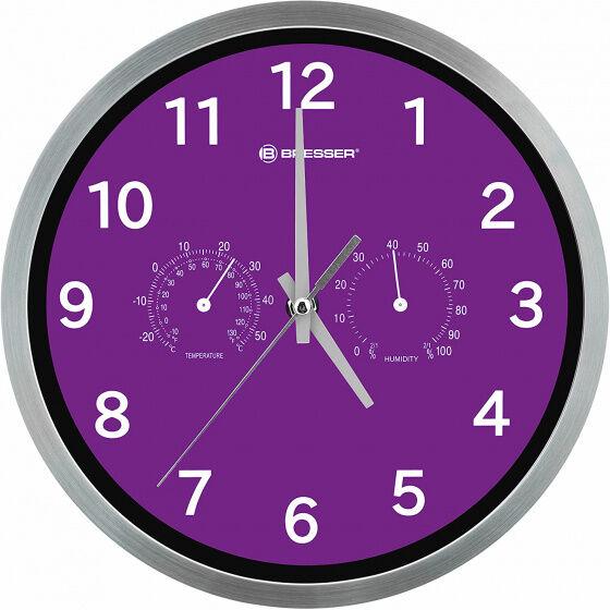 Bresser wanduhr MyTime 25 cm Edelstahl silber/violett