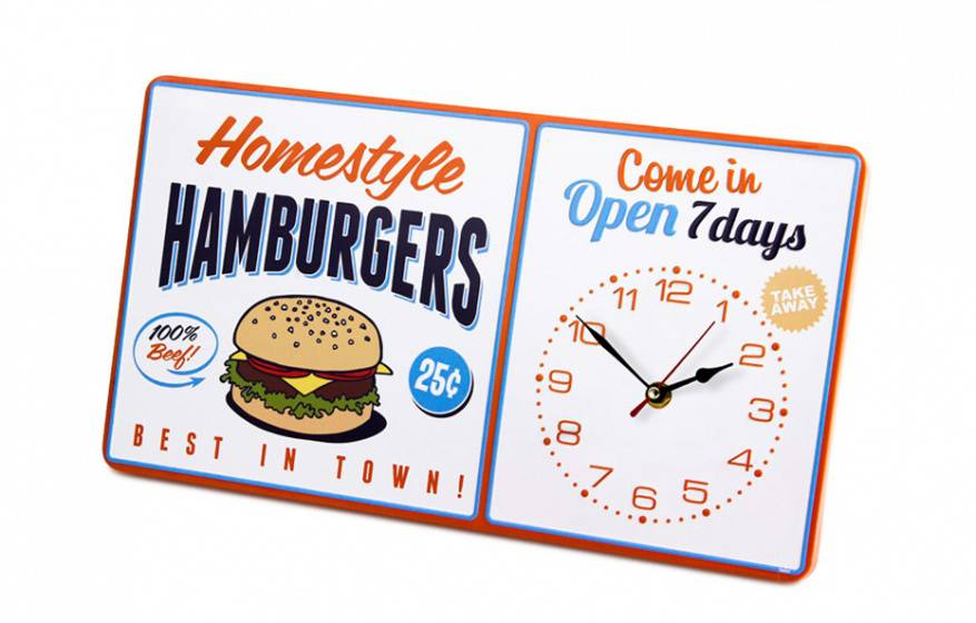 Balvi wanduhr homestyle hamburger 40 x 22 cm metall weiss