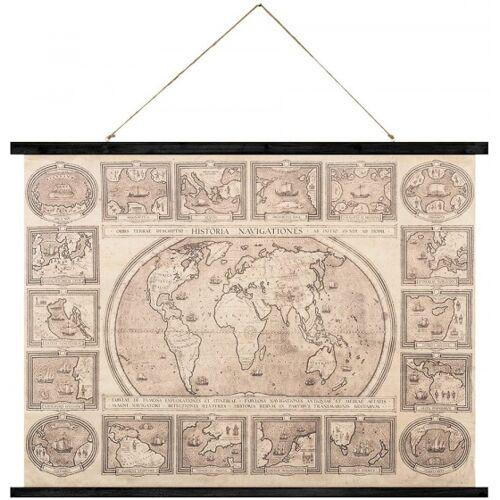 Balvi wandplakat Alte Weltkarte 74 cm Holz/Leinwand braun