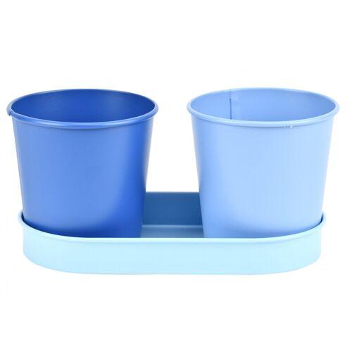 Esschert Design blumentöpfe auf Tablett 18,3 cm Zink blau