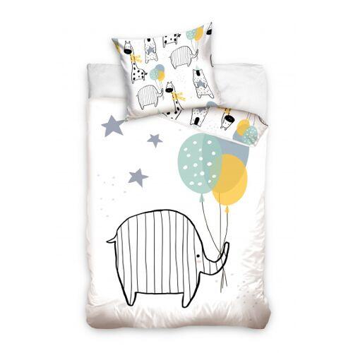 Carbotex bettbezug Elefant Kinderbett 90 x 120 cm Baumwolle weiß