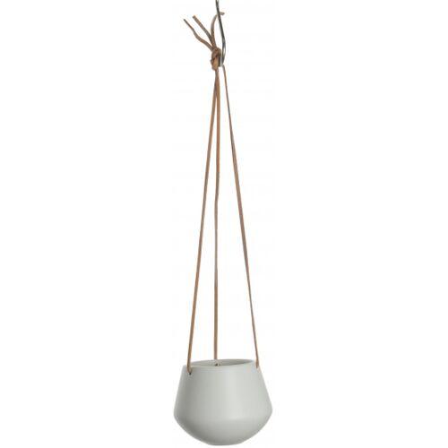 Present Time hängetopf Skittle 9,5 x 12,2 cm Keramik/Leder weiß