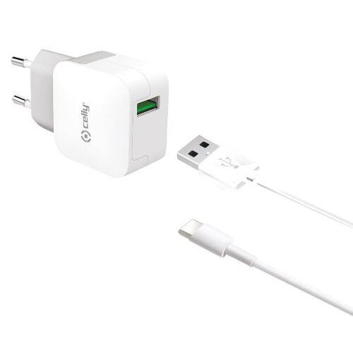 Celly ladegerät mit Kabel USB C 230V 100 cm weiß