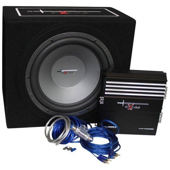 Excalibur X3 Bass Pack 12 '' Subwoofer Verstärker und Kabel