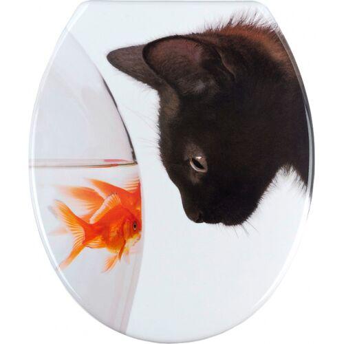 Wenko wC Sitz Fish & Cat 38 x 42 cm Duroplast weiß