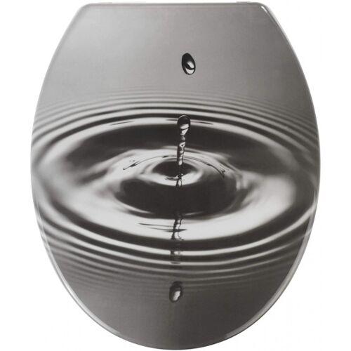 Wenko WC Sitz Waterdrop 37,5 x 44 cm grau