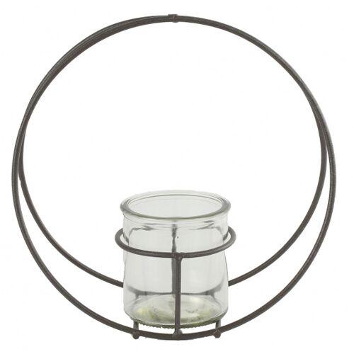 Countryfield blumentopfhalter Colin 22 x 9,5 cm Zink/Glas grau