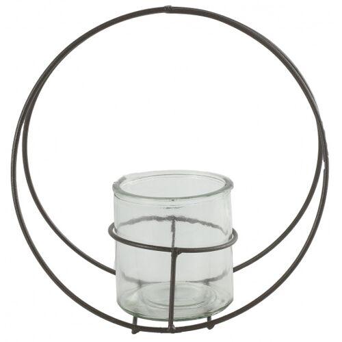 Countryfield blumentopfhalter Colin 25 x 11 cm Zink/Glas grau