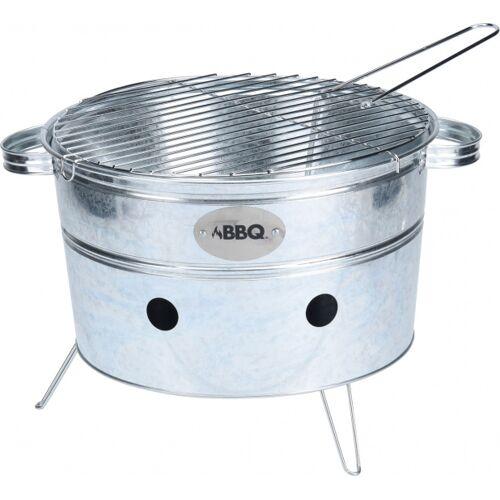 BBQ tragbarer runder Grill aus schwarzem Stahl 38 x 20 cm