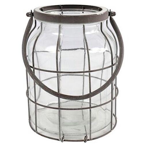 Countryfield windlicht Deegan L 18 x 21 cm Stahl/Glas grau