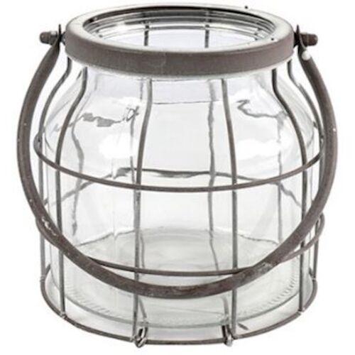 Countryfield windlicht Deegan M 18 x 17 cm Stahl/Glas grau