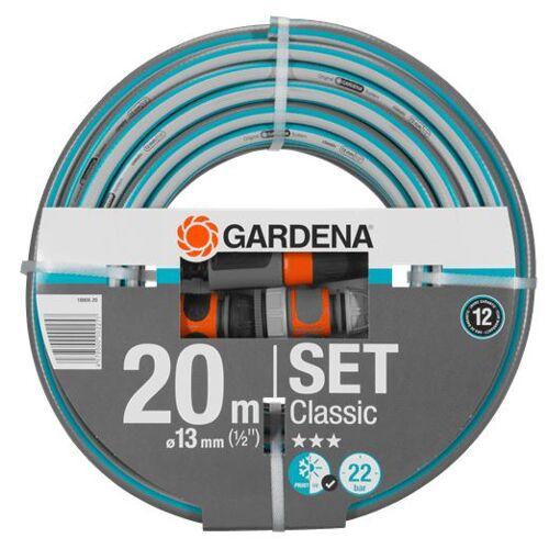 Gardena gartenschlauch Set 20 Meter PVC grau / blau