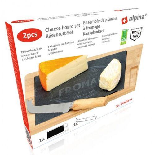 Alpina käsebrett mit Messer 24 x 20 cm Holz