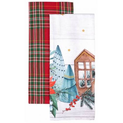 Amo La Casa geschirrtuch Häuser 45 x 65 cm Baumwolle weiss/rot 2 Stück