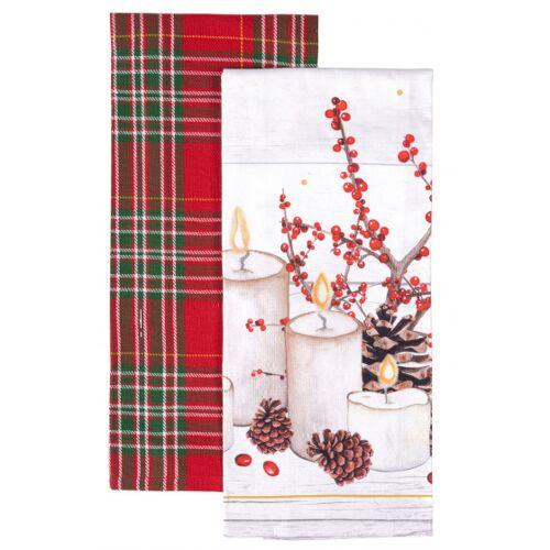Amo La Casa geschirrtuch Candle 45 x 65 cm Baumwolle weiss/rot 2 Stück