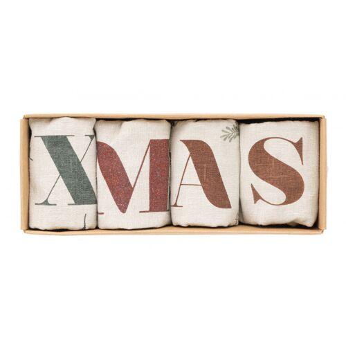 Amo La Casa geschirrtücher Weihnachten 40 x 60 cm Baumwolle beige 4 Stück