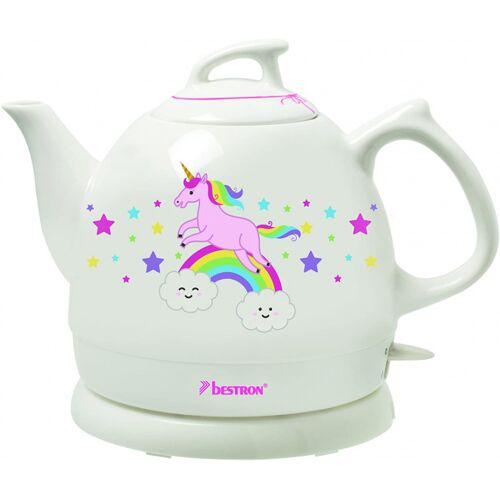 Bestron wasserkocher Einhorn 0,8 Liter 1800W Keramik weiß/rosa