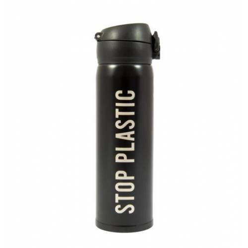 Fisura thermosbecher Stop Plastic 6,5 x 21,5 cm Edelstahl 500 ml schwarz
