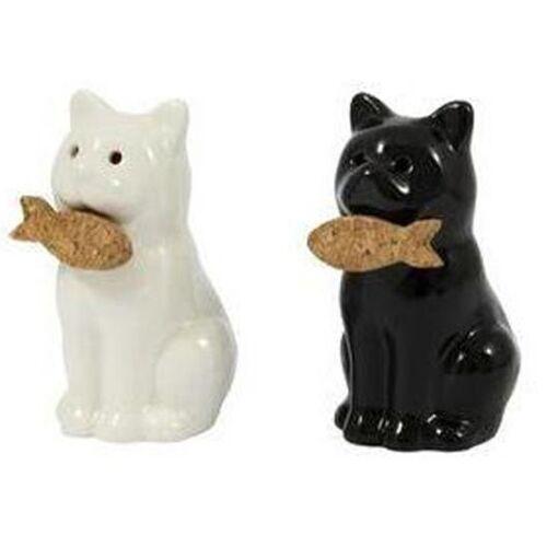 Fisura salz  und Pfeffermühle Katzen 9 cm Keramik weiß/schwarz
