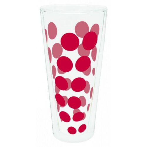 Zak!Designs hohes Glas Dot Dot doppelwandig 400 ml rot