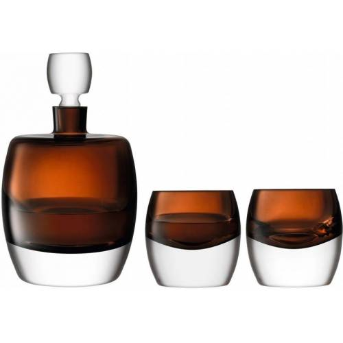 L.S.A. whiskey Set Whiskey Club Glas braun/weiß 3 teilig