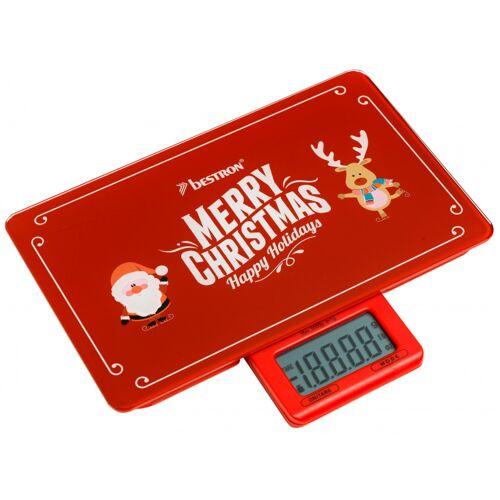 Bestron küchenwaage Merry Christmas 23 cm Glas rot