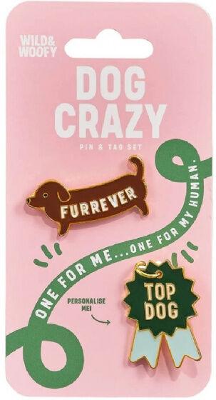 Wild & Woofy broschen Dog CrazyStahl grün/braun 2 Stück