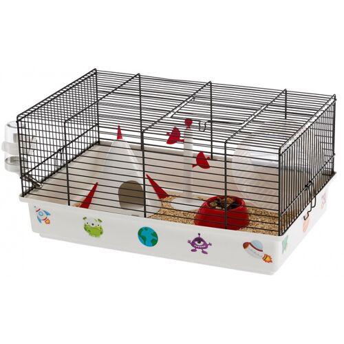 Ferplast hamsterkäfig Space 46 x 29,5 x 23 cm Stahl weiß/schwarz