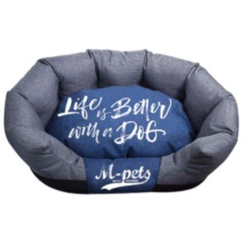 M-Pets hundekorb prag 55 x 35 x 23 cm teflon blau/grau