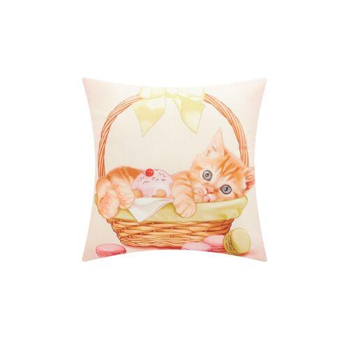 Sofa.de Kissen  Katze im Süßigkeitenkorb    Creme