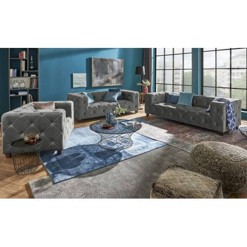 Sofa.de Chesterfield Samt    Grau