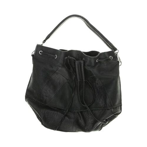 tigha Damen Handtasche schwarz, Leder schwarz