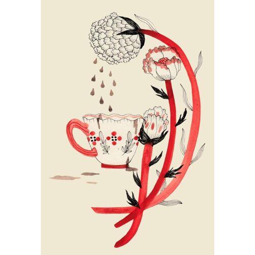 """JUNIQE Glasbild Kaffee """"Coffee"""" von JUNIQE - Künstler: Daniela Spoto"""