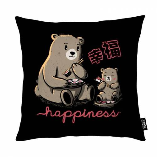 "JUNIQE Deko Kissen Bären ""Happiness Sushi"" von JUNIQE"
