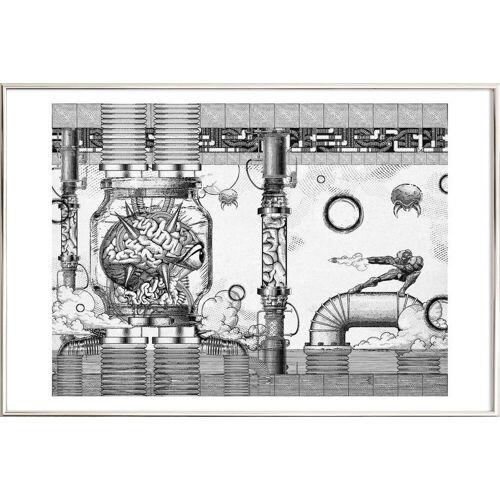 """JUNIQE Poster im Alurahmen Retro & Vintage """"Metroid Mother Brain Vintage Scene"""" von JUNIQE - Künstler: Barrett Biggers"""