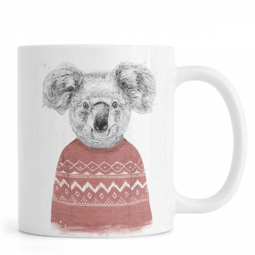 "JUNIQE Tassen Koalas ""Winter Koala Red"" von JUNIQE"